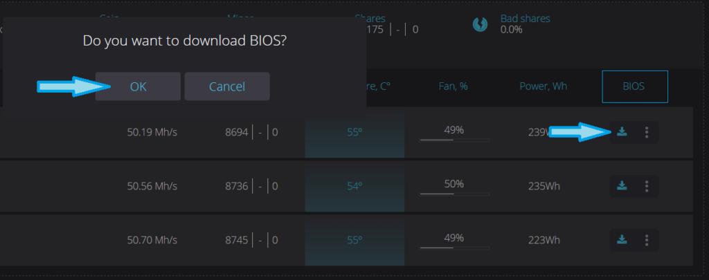 Обновить BIOS видео карты через RaveOS